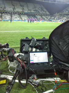 My workplace tonight at the Arena Corinthians, Sao Paulo, for the Uruguay v England game which England lost 2-1. There's a 1DX, 1DIV and 1DIII with 400 2.8, 70-200 and 24 lenses, plus laptio and hidden wifi router. Photo by Andrew Tobin/Tobinators Ltd